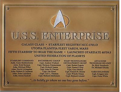 USS ENTERPRISE 1701-D Widmungs-Plakette Star Trek Eaglemoss Dedication Plaque