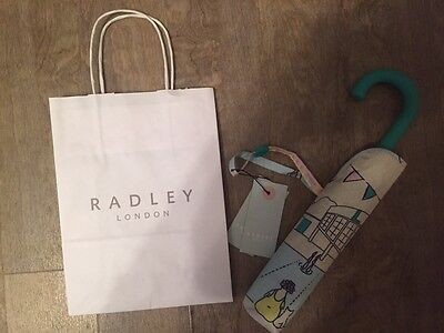 Radley Lido Signature Ivory Green Crook Handle Umbrella Gift Bag NEW NEW RRP £30