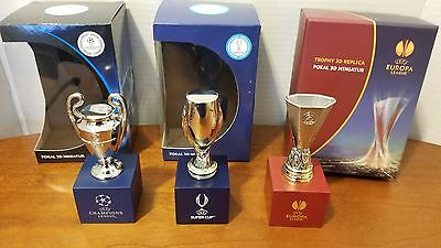 "UEFA Champions Europa Super Cup Trophies Replica Metal Miniature 4"" with base"