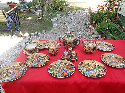 22 Pcs Japanese Satsuma Moriage Shimazu Crest Dragon Ware Immortals Tea Set NICE
