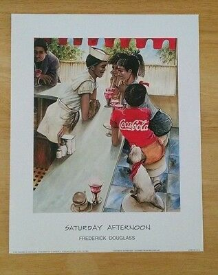 "Vintage Coca Cola Lithograph Print / ""Saturday Afternoon"" by Fredrick Douglass"
