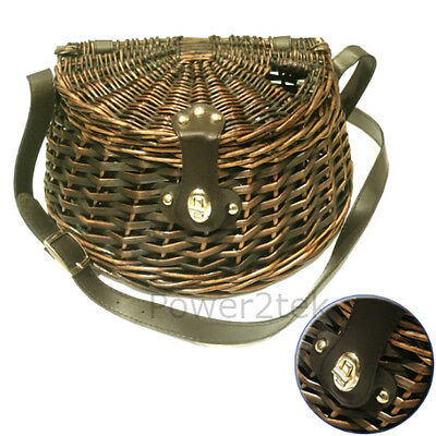 Wicker Trout Perch Cage Fishing Bag Basket Storage Creel Tackle Clasp Strap Box