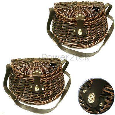 2 x Wicker Trout Perch Cage Fishing Basket Storage Creel Tackle Clasp Strap Box