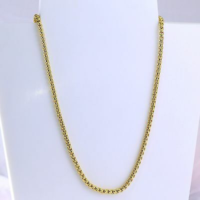 3.5mm High quality 24K Yellow Gold Plated Box Chain Necklace 29 inches