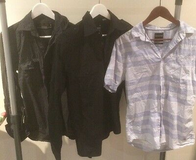 3 x industrie mens shirts button size long sleeves size small short medium