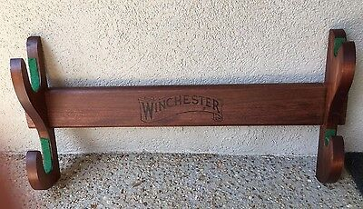 RARE Vtg Winchester 2 Gun Hanging Wooden Wall Rack Display Rifle Shotgun Storage
