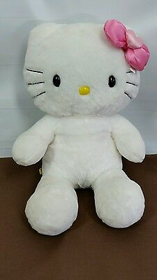 Hello Kitty White Build a Bear Stuffed Animal Plush 18 inches Pink Bow Clothes