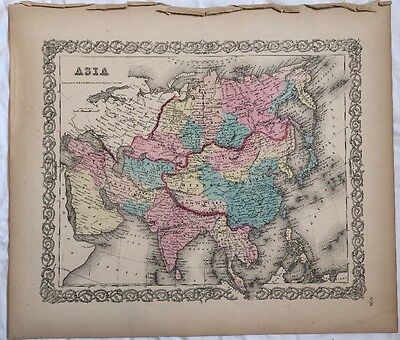 ASIA No 24, Antique Atlas Map 1855 Colton World Maps +