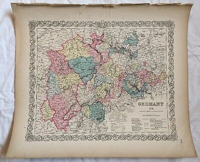 GERMANY No 2, Map No 13, Antique Atlas Map 1855 Colton World Maps