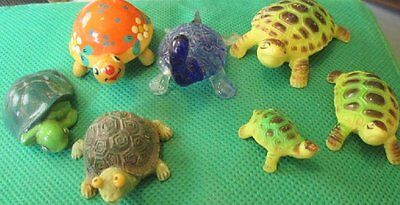 "Vintage lot of 7 Collection of small TURTLE figures 1.25-2.25"" long"