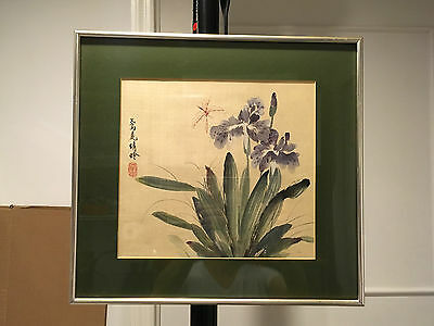 Vintage Chinese dragon fly dancing hand painting original on silk with frame