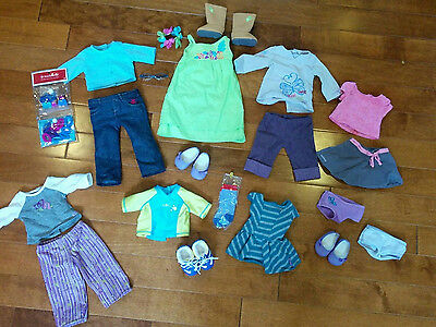 21 Items of American Girl Doll AUTHENTIC CLOTHING & ACCESSORIES LOT Shoes Skates
