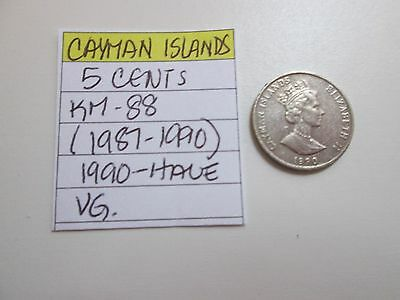 Single coin from CAYMAN ISLANDS, 1990, 5 cent, KM 88 (1987-1990), circ.