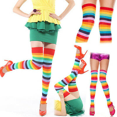 Opaque Acrylic Rainbow Striped Thigh High Leg Warmer Footless Costume Stockings