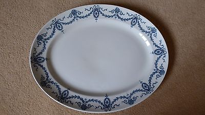 "Vintage Blue and White plate meat platter very large 12.75"" x 16"""