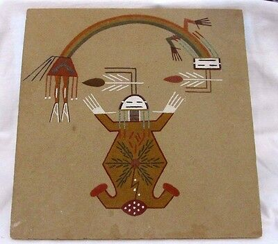 """Vintage Native American Navajo Sand Painting """"Mother Earth"""" By Lehi Benally"""