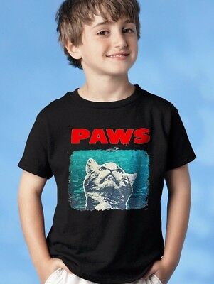 PAWS YOUTH T-shirt. Funny Jaws parody Youth Kids T-Shirt. cat lovers gift.