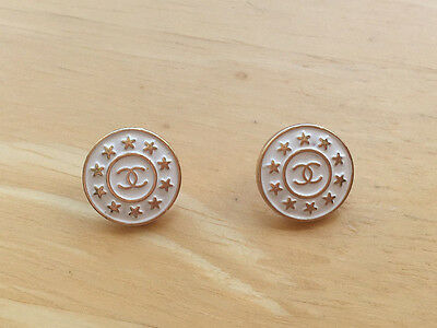 Chanel White And Gold Stars buttons - Listing for 2 Buttons