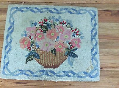 Vintage Claire Murray hooked wool rug, Nantucket Basket 25 X 31 R232