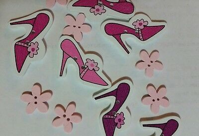 craft buttons wooden assorted PINK shoes and flowers cardmaking scrapbooking