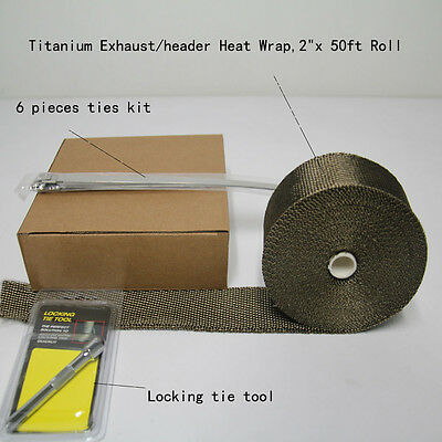 "Titanium Exhaust Heat Wrap, 2""x50'Roll With Stainless Ties Kit Locking tie tool"