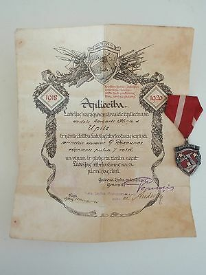 Latvian Liberation War Commemorative Medal with document. rare. vf+