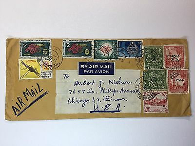 Pakistan airmail Cover to USA  Sc# 58 160 155 121 153 o67 1962