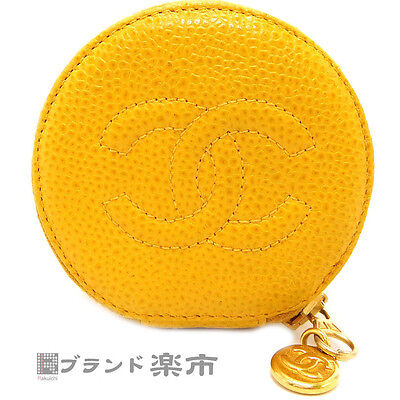 Authentic CHANEL Yellow Caviar Skin CC Jewelry Round Zip Case Accessory Pouch