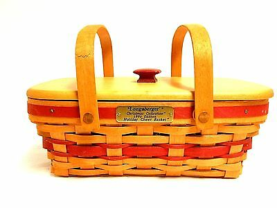 LONGABERGER 1996 Christmas Collection Holiday Cheer Basket Lid & Plastic Liner