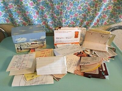 Vintage Syndicate Winter Farm Recipe Box With Recipes Clipped Handwritten