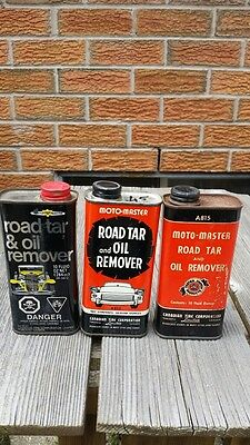 Canadian Tire Motomaster Lot of 3 Road Tar & Oil Remover Tin Cans
