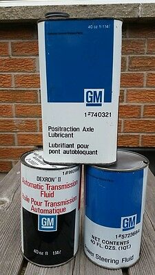 Lot GM General Motors Imperial Quart Oil Cans ATF Positraction Power Steering
