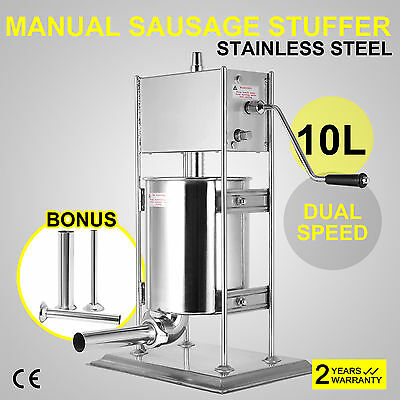 New 10L Stuffer Maker Machine Commercial Kitchen Sausage Filler Stainless Steel