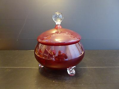 Vintage Ruby Red Glass Lolly Jar c1950s