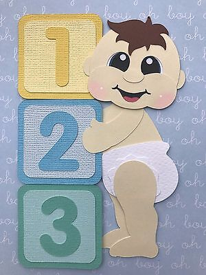 Standing baby boy with blocks fully assembled die cut