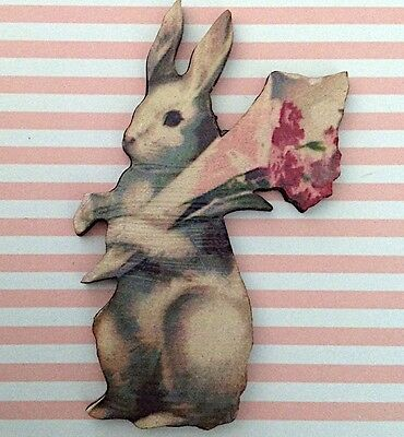 BROOCH Wooden rabbit with flowers Vintage style retro bunny jewellery Wood pin