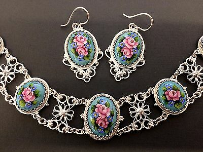 Enamel Russian Rostov Vintage Style Finift Set Necklace Earrings. Turquoise rose
