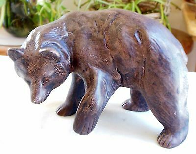 Vintage Porcelain Brown Bear Figurine Hand Painted Paw Lifted