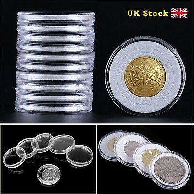 20/40 46mm Coin DISPLAY Cases Capsules Holder Clear Plastic Round Storage Box UK