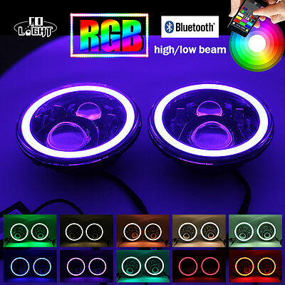 7 Inch Halo RGB LED Headlights Bluetooth Hi Lo Beam Lamp For Jeep Wrangler JK 2X