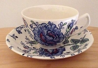 Johnson Brothers Rose Chintz Blue Cup & Saucer Set