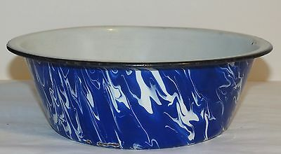 "Antique Graniteware Cobalt Blue & White Swirl 9 ½"" Pudding Pan Bowl"