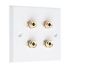 4 Post Surround Sound Speaker Wall Plate with Gold Binding Posts NO SOLDERING