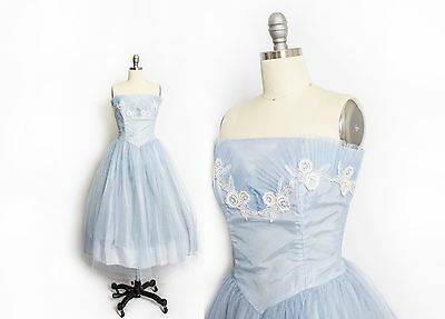 Vintage 1950s Dress - Baby Blue Tulle Lace Strapless Full Skirt Party Prom M