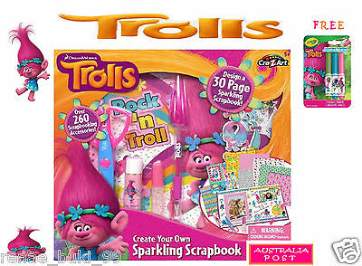 TROLLS Doll 'Create Your Own Sparkling Scrapbook'  Toy + Free Trolls Markers