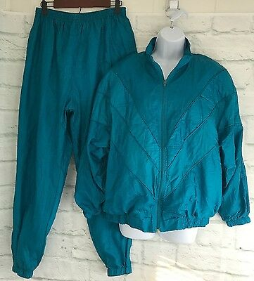 Vtg 80s Track Suit Size Large Jacket Pants Turquoise Teal Nylon Bolo Spirit