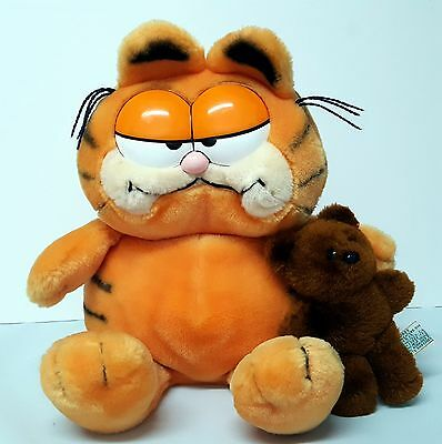 Vintage Dakin 1981 Garfield Cat & 1983 Pooky Teddy Bear Plush  Toy Animal