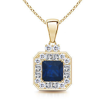 Natural Blue Sapphire Vintage Pendant Necklace With Diamond Halo 14K Yellow Gold