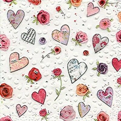 3 Paper Napkins for Decoupage / Tea Parties / Weddings - Love Hearts