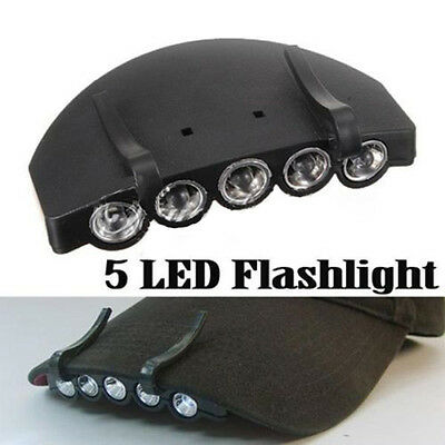 3 Modes 1*Clip-On Flash 5 LED Head Lights Lamp Cap Hat Camping Torch w/Clip Hand